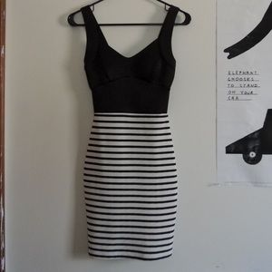Form Fitting Black and White Dress